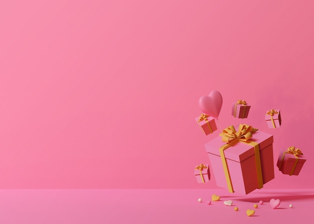 Render 3d de cajas de regalo rosa y globo en forma de corazón sobre fondo rosa