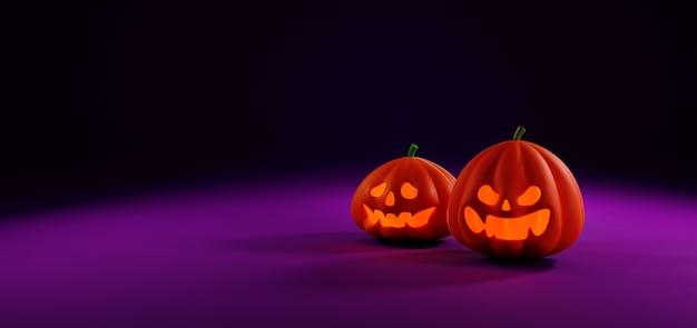 Render 3d de calabazas de halloween aisladas