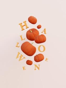 Render 3d de calabazas de halloween y letras concepto de vacaciones de halloween lindo