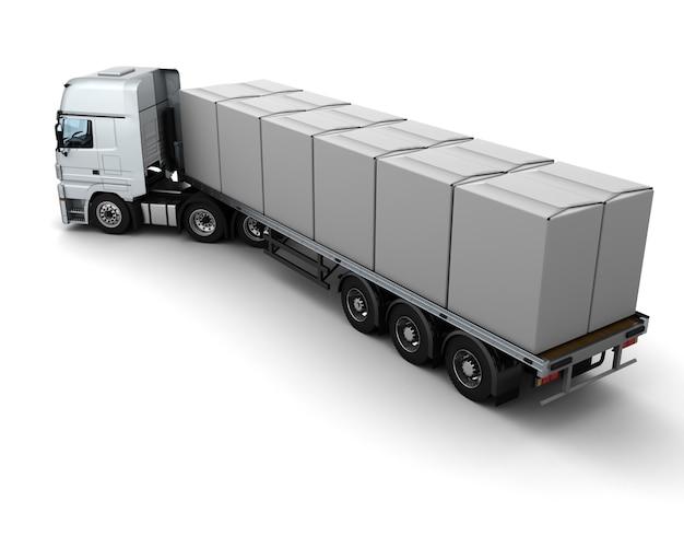 Render 3d de un camion de mercancía pesada transportando cajas blancas