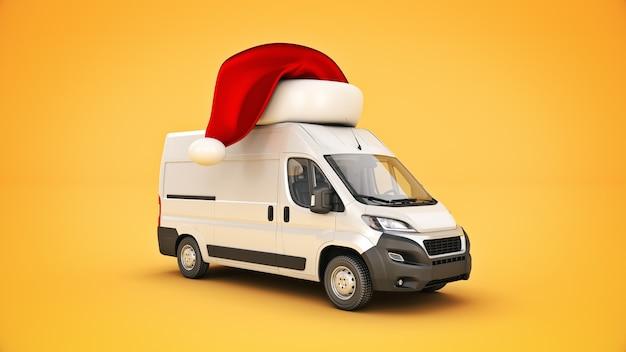 Render 3d de camioneta de reparto de navidad