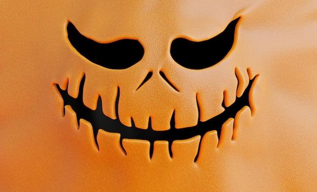 Render 3d de cara de calabaza con concepto de halloween.