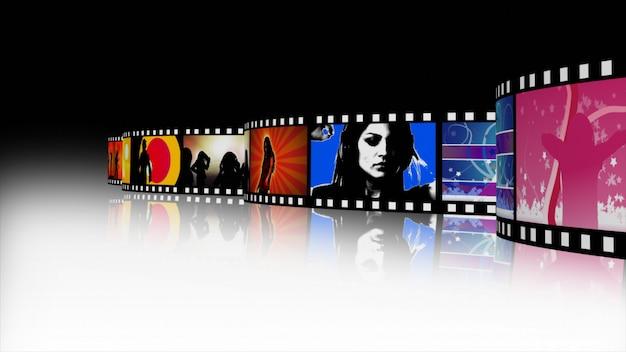 Render 3d de un carrete de película de música y danza