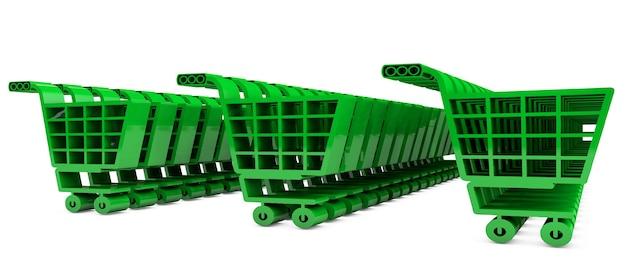 Render 3d de carros de supermercado verde