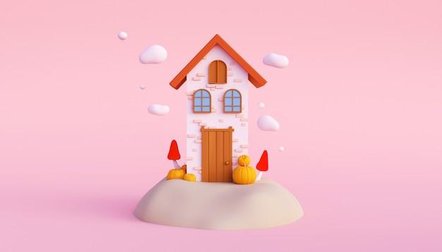 Render 3d de la casa de hadas en la colina con calabazas y setas en el concepto de halloween de fondo rosa