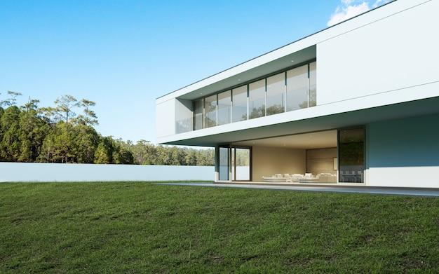 Render 3d de casa moderna con piscina en el fondo del árbol.