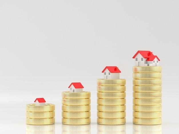 Render 3d de casas en pilas de monedas