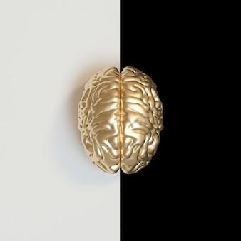 Render 3d de un cerebro humano de color dorado