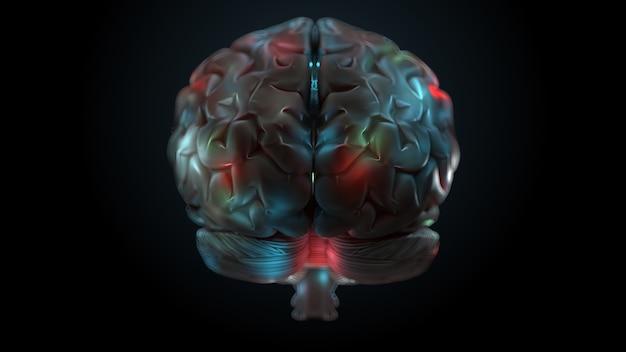 Render 3d del cerebro con zonas iluminadas y brillantes. la superficie del cerebro está resaltada con diferentes colores.