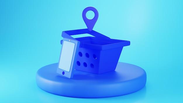 Render 3d de la cesta de la compra azul y el teléfono inteligente en un podio aislado sobre fondo azul.