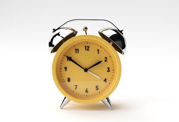 Render 3d cierre de reloj de alarma sobre fondo blanco diseño.