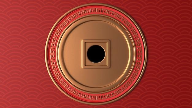 Render 3d del círculo dorado con adornos rojos