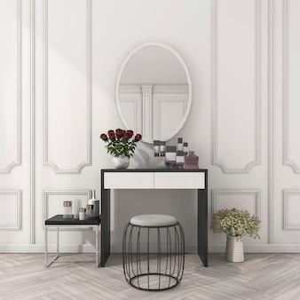 Render 3d clásico sala blanca con mesa de maquillaje