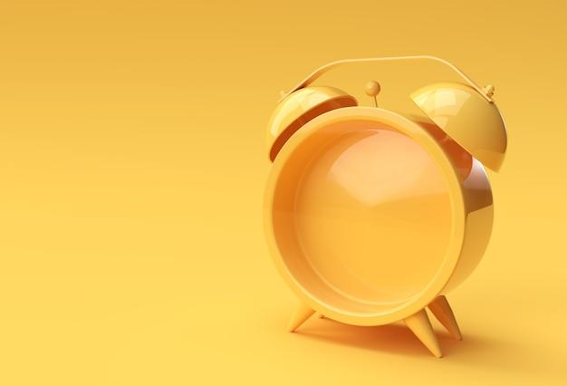 Render 3d close up reloj de alarma en blanco sobre fondo amarillo diseño.