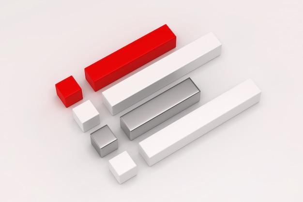 Render 3d de coloridos cubos y prismas