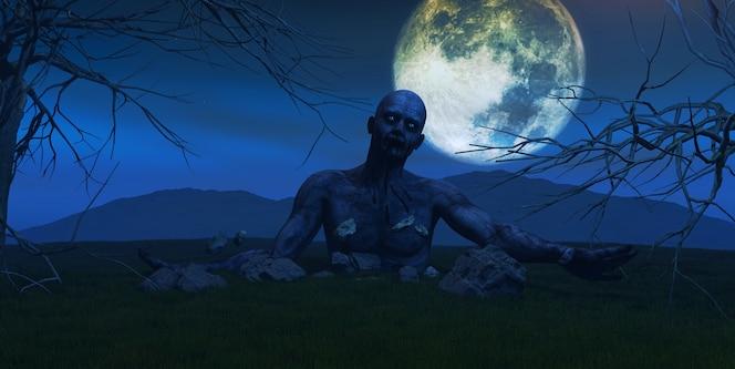 Render 3d de un zombie que sale de la tierra