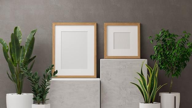 Render 3d, decoración del hogar con maquetas de marcos en el podio de mármol y macetas de plantas de interior en el fondo de la pared del desván, ilustración 3d
