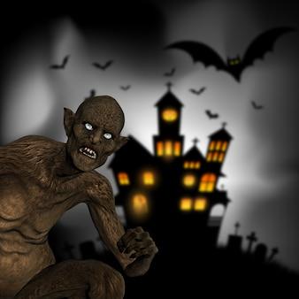 Render 3d de un demonio malvado sobre un fondo de halloween desenfocado