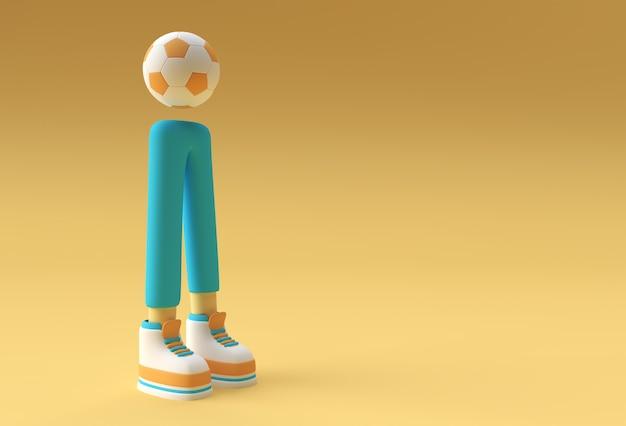 Render 3d, deportista de personaje de dibujos animados divertido, piernas con diseño de fondo de fútbol.