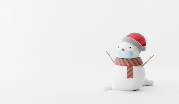 Render 3d de dibujos animados de muñeco de nieve en el fondo.