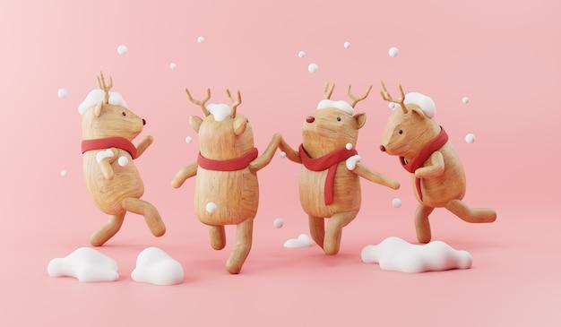 Render 3d de dibujos animados de renos de madera con decoración navideña