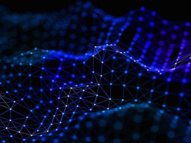 Render 3d de un diseño de conexiones de red fluidas con líneas y puntos de conexión