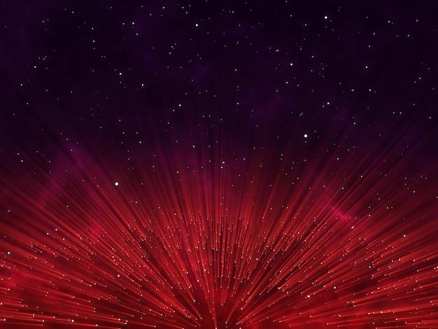 Render 3d de un diseño de partículas abstracto con rayos brillantes