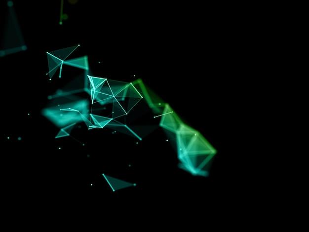 Render 3d de un diseño tecnológico moderno abstracto con líneas y puntos de conexión de baja poli