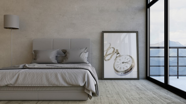 Render 3d de un dormitorio