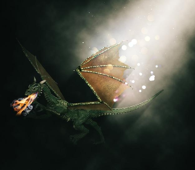 Render 3d de un dragón de fantasía respirando fuego