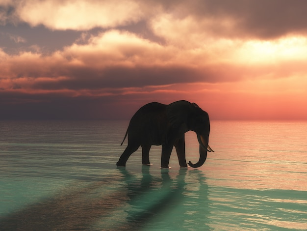 Render 3d de un elefante caminando en el océano contra un cielo al atardecer