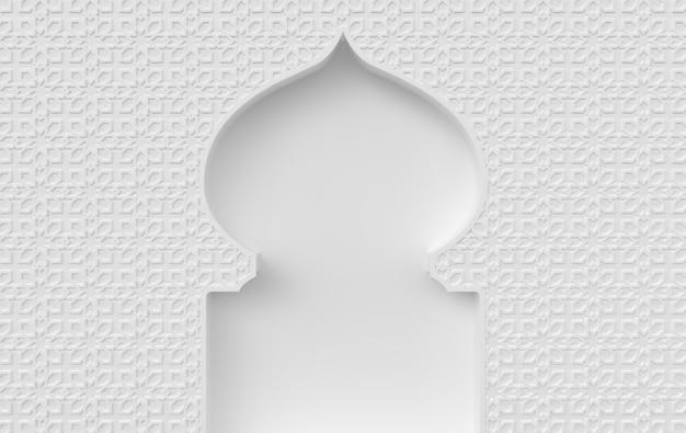 Render 3d del elemento de la mezquita en un intrincado estilo arquitectónico árabe e islámico