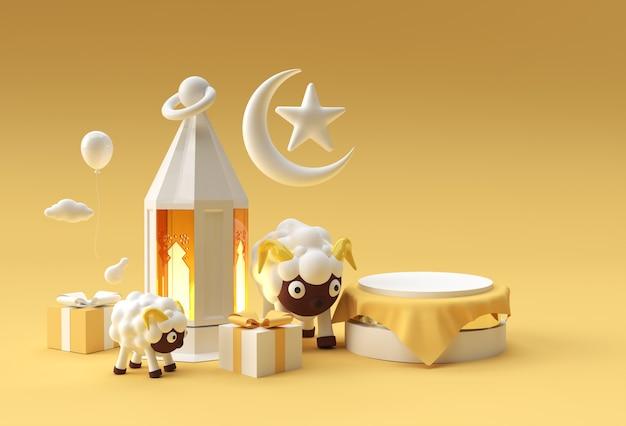 Render 3d escena de eid mubarak de escena de podio mínima para productos de exhibición concepto de diseño de evento de venta de eid al adha islámico.