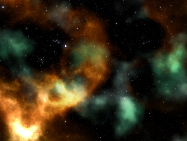 Render 3d de una escena espacial abstracta con nebulosa y estrellas