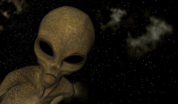 Render 3d de una escena espacial con primer plano de criatura alienígena