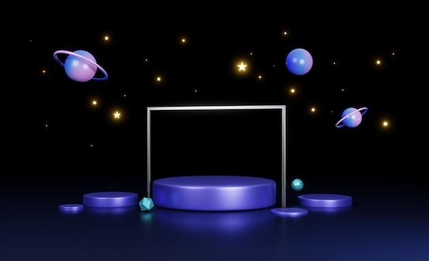Render 3d, escenario circular en concepto de nave espacial, luz de noche azul neón, fondo futurista abstracto