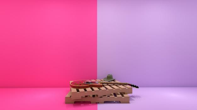 Render 3d de estilo country y guitarra eléctrica en palet de madera en tonos pastel dos tonos
