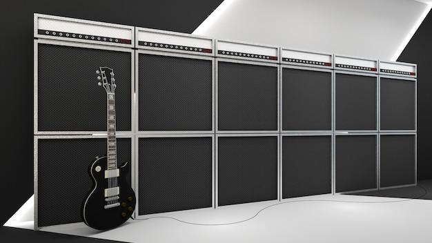 Render 3d de estilo rock and roll y amplificador