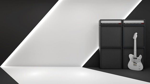 Render 3d de estilo rock and roll y pared moderna