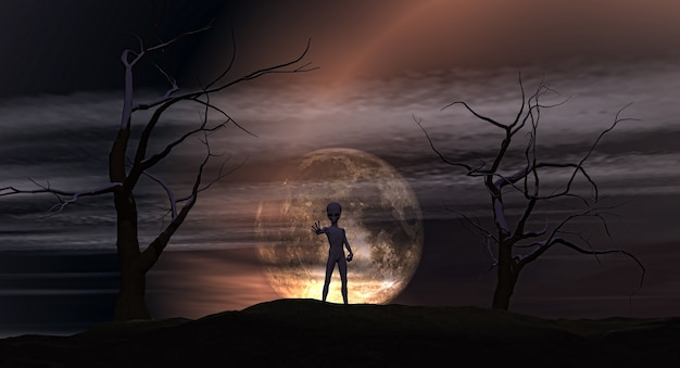 Render 3d de un extraterrestre en un paisaje espeluznante