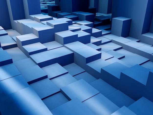 Render 3d de una extrusión de bloques isométricos