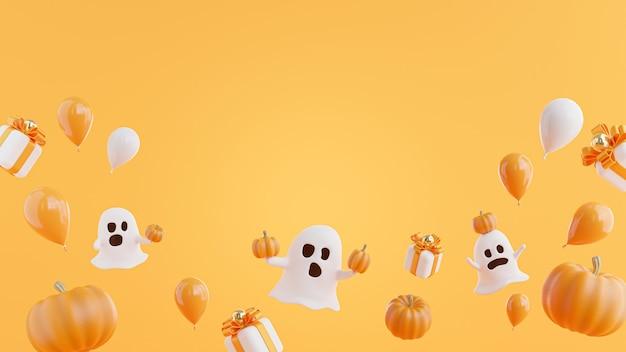 Render 3d de fantasma con calabaza concepto de halloween.