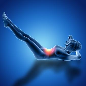 Render 3d de una figura femenina en pose de elevación de pierna acostada con los músculos utilizados resaltados