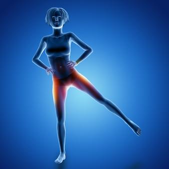 Render 3d de una figura femenina en pose de elevación de la pierna con los músculos utilizados resaltados