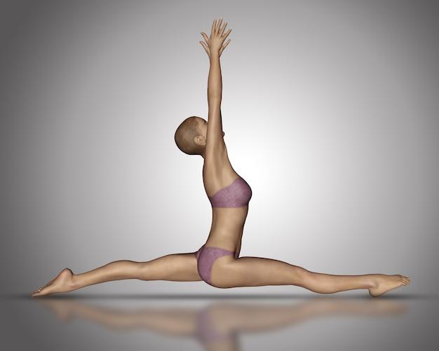 Render 3d de una figura femenina en posición de divisiones de yoga
