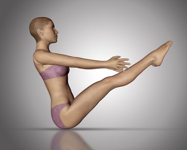 Render 3d de una figura femenina en posición de yoga