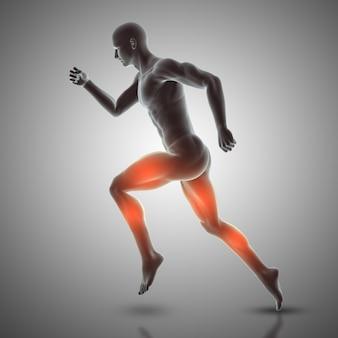 Render 3d de figura masculina corriendo destacando musculos usados