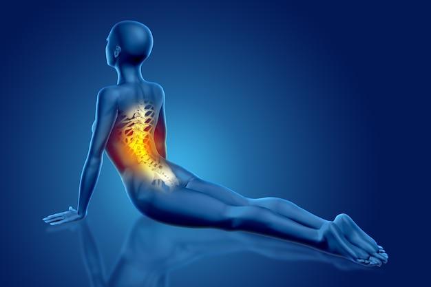 Render 3d de una figura médica femenina en pose de yoga con columna vertebral resaltada