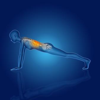 Render 3d de una figura médica femenina en posición de yoga con la columna resaltada