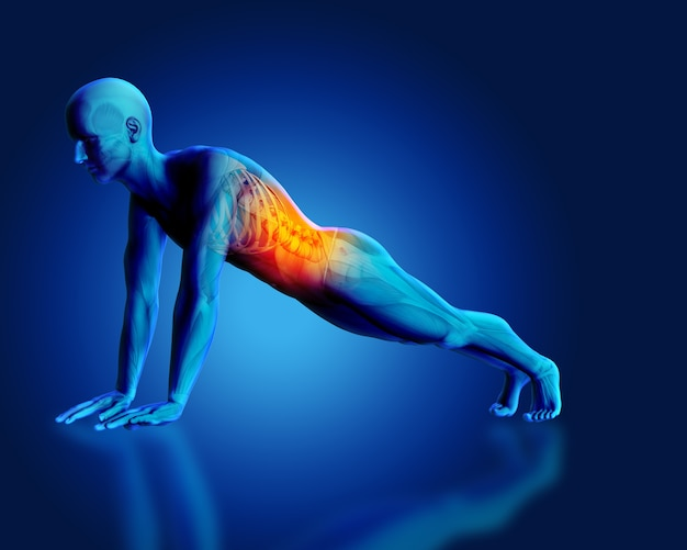 Render 3d de una figura médica masculina azul en posición de tabla